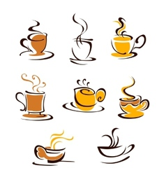Cups of hot coffee vector image