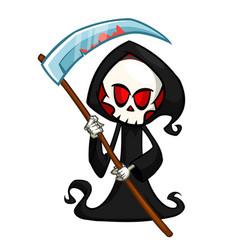 Cute cartoon grim reaper halloween vector