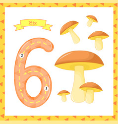 Cute children flashcard number one tracing with 6 vector