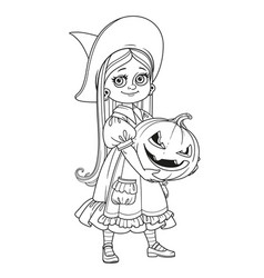Cute girl in witch costume holding a large pumpkin vector