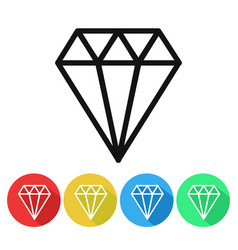 diamond icon isolated luxury crystal vector image