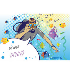 Diver showing ok hand sign vector