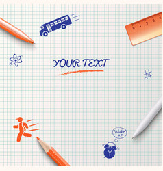 Education background School stationery items vector