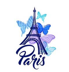 Eiffel Tower and blue butterflies vector