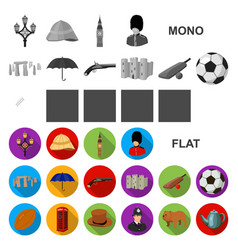 England country flat icons in set collection for vector