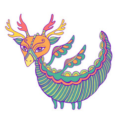 Fantastic colorful dragon with wings horns vector