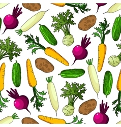 Farm vegetables seamless pattern background vector image