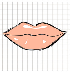 female pink lips drawn by vector image