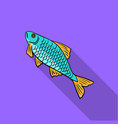 fish icon in flat style isolated on white vector image