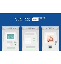 Flat design atm terminal coffee vector