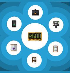 Flat icon life set of bureau cellphone briefcase vector