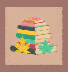 Flat shading style icon stack of books vector