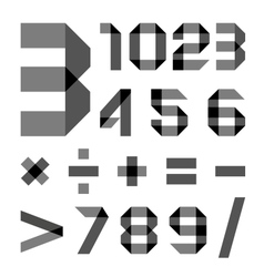 Font from a paper transparent tape - Numerals vector image