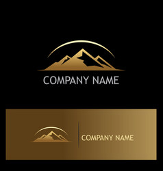 gold mountain nature logo vector image