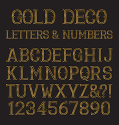 Golden font in art deco style vintage alphabet vector