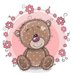 greeting card bear with flowers vector image