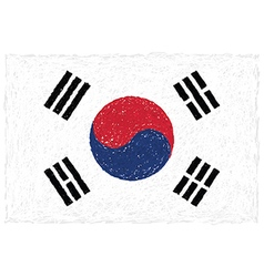 Hand drawn of flag of South Korea vector