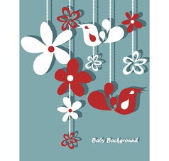 hand drawn retro flowers and birds vector image
