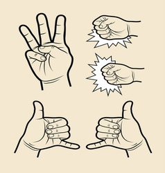 Hand signs 5 vector image