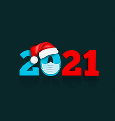 happy new year 2021 figures under hat of vector image