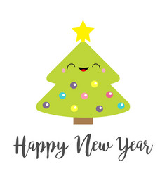 happy new year card fir christmas tree with star vector image