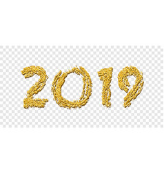 happy new year gold number 2019 bright golden vector image