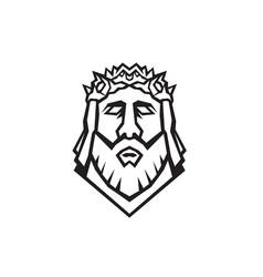 head jesus christ redeemer wearing crown vector image
