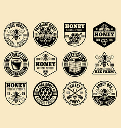 Honey monochrome badges emblems labels vector