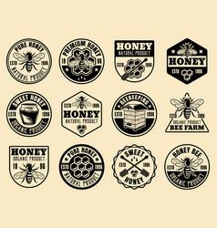 honey monochrome badges emblems labels vector image