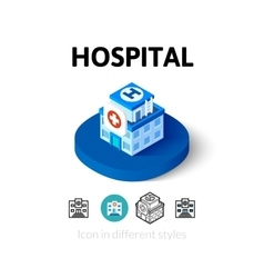 Hospital icon in different style vector