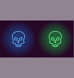 human neon skull in blue and green color vector image
