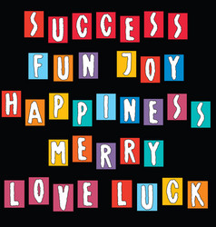 Image various cheerful words from colorful vector