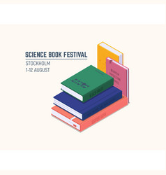 Isometric book pile vector
