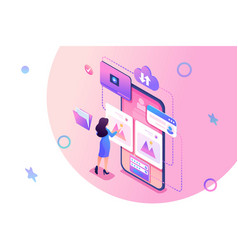 Isometric concept publish your stories on the vector