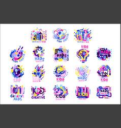 kid creative set colorful logo graphic vector image