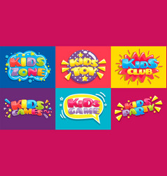 Kids club posters toys fun playing zone children vector