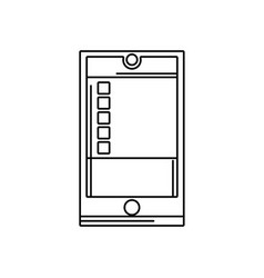 line smartphone object technology with data vector image