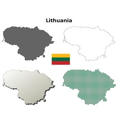 Lithuania outline map set vector image