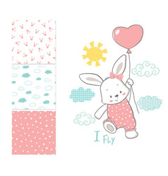 Little bunny is flying in a balloon surface vector