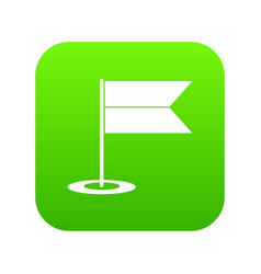 Locator flag icon digital green vector
