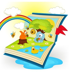 Magic book animals in the glade vector