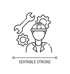 Mechanical engineer pixel perfect linear icon vector