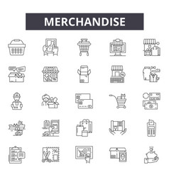 Merchandise line icons signs set outline vector