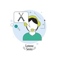 Operator man with headphone icon Customer Sevice vector