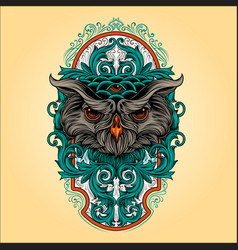 owl head with frame vintage ornaments vector image