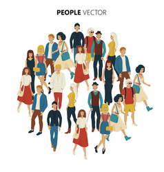 People crowd cartoon style of young vector