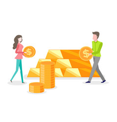 people investing money gold bars and coins vector image