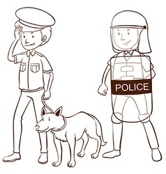 Police with shield and dog vector