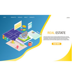 Real estate business landing page website vector