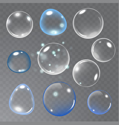 realistic soap bubble on transparent background vector image